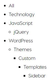 Categories Lists default