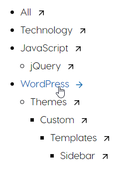 Categories Lists with svg